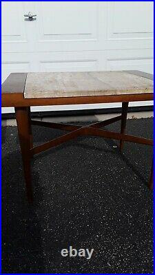 $100 DOWN! Drexel Rare Mid Century Modern Gorgeous Wood & Marble Top End Tables