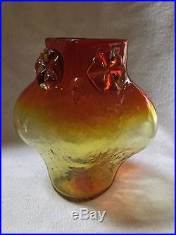 1958 BLENKO Glass Owl Vase (tangerine) by Wayne Husted- Mid Century Modern -Rare