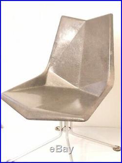 1959 MCM Fiberglass Origami Chair Faceted Form Paul McCobb Grey Rare Steel Base