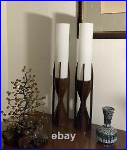 (2) Rare Mid Century Modern Pair Modeline Sculptural Walnut Teak Lamps