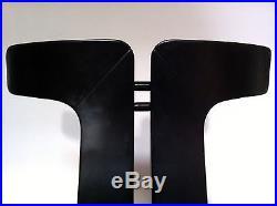 2 x Rare original wood leather PIERRE CARDIN design chair 80s mid century modern