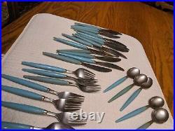30 MCM Turquoise Blue Aqua Castle Stainless Set Lot VTG mid century modern rare