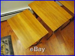 3 Vtg Mid Century Modern NESTING X-Base TABLES/Stands European Stacking RARE 60s