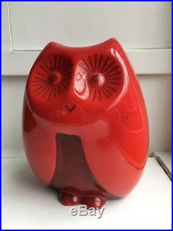Baldelli Italian Ceramic Owl Red Coin Bank Rare Mid Century Modern Art Piggy