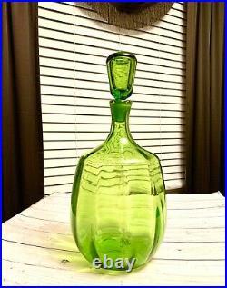 Beautiful 1964 Rare Joel Meyers Lg Hand Blown Green Glass Blenko Decanter #6416