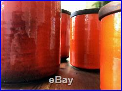 Bitossi Vintage Signed Ceramic Canisters RARE Italian pottery