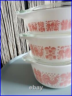 EUC RARE Vintage Pyrex Pink Amish Butterprint Casserole Set with Lids