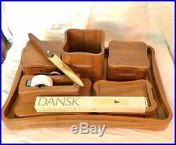 EXTREMELY RARE COMPLETE 8 PIECE DANSK TEAK DESK SET c. 1970