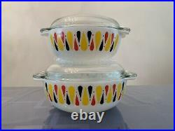 EXTREMELY RARE JAJ Pyrex HARLEQUIN (1962) Easy-Grip Casserole Dish Set with Lids