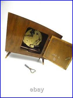 Elegant Very Rare Original 50s MID Century Table Clock By Hermle Germany
