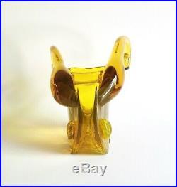 Extremely Rare Blenko 6134 Jonquil Ram's Head Vase, 1961 Wayne Husted MCM Vtg