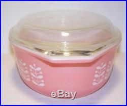 Extremely Rare HTF Pyrex Pink Stems Casserole Dish with Lid 043 EXC CLEAN