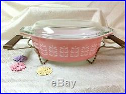 Extremely Rare HTF Pyrex Pink Stems Casserole Dish with Lid AND CRADLE 043