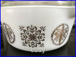 Extremely Rare/Htf Pyrex White Gold Hex Signs 475 Casserole with Lid