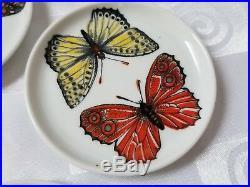 Fornasetti Farfalle Butterflies Set of 7 Plates Coasters Milano Italy Rare