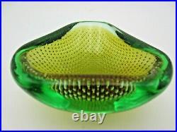 Galliano Ferro Murano sommerso green & amber art glass bullicante bowl 60s RARE