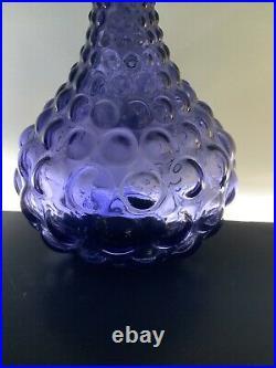 Genie Bottle Empoli rare purple hobnail squat decanter