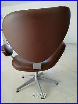 Genuine Egg Chair in Brown Cognac Leather Vinyl Rare attributed to Arne Jacobsen