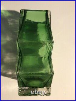 Genuine Whitefriars Meadow Green Double Diamond Vase (9759) Very Rare