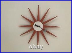 George Nelson Starburst Spike Clock RARE Red VINTAGE original Mid Century Modern