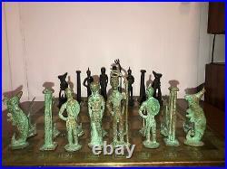 Giacometti Style Mid Century Modern Brutalist Chess Set Greek Mythology Rare MCM