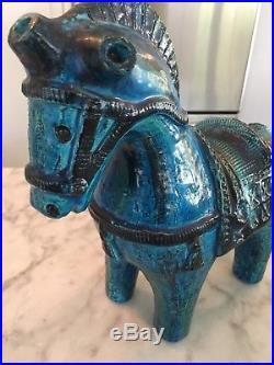 Iconic Bitossi Rimini Blue Glazed Ceramic Horse Mid Century Rare Italy Londi