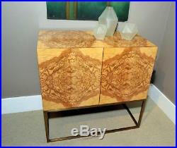 Incredible Rare Olive Ash Burled Wood Milo Baughman Style Modern Server Buffet