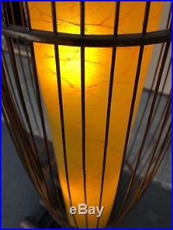 Large 57 Mid Century Bamboo Hanging Floor Lamp RARE
