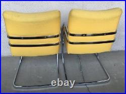 MID-CENTURY MODERN RARE 60s-70s Milo Baughman Yellow Chrome Rainbow 2 Chair Set