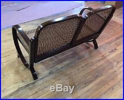 MID CENTURY WICKER BENCH LoVe SEAT WOOD Rare INDOOR Designer Furniture