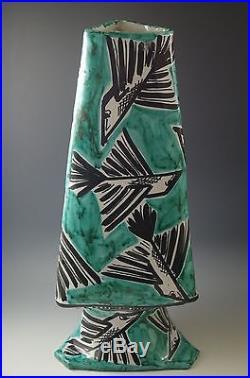 MID Century Eames Era Italy XL 16 Ceramic Vase Turquoise Black Birds Rare