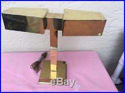 MID Century Modern Rare Laurel Brass Double Table Desk Atomic Lamp