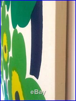 Marimekko Rare Vtg 1965 Maija Isola Unikko Lrg Stretched Fabric Wall Hanging Art