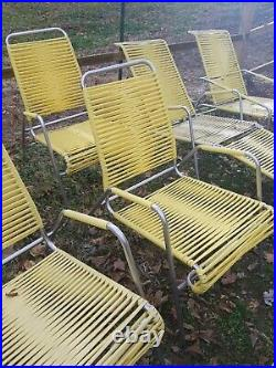 Mid Century Ames Aire Woven 4 Patio Chairs 3 Chaise 1 Cot 8 Piece Patio Set Rare