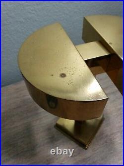 Mid Century Modern Atomic Rare Rotating Double Brass Desk Touch Lamp Light