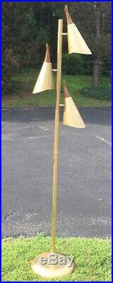 Mid Century Modern Brass Cone Floor Lamp Atomic Vintage RARE