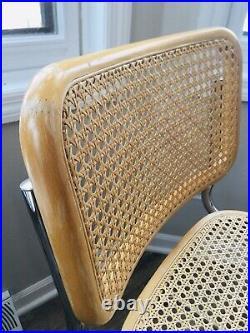 Mid Century Modern Cesca Chairs Chrome Dining Marcel Breuer 1960s Rare Vintage
