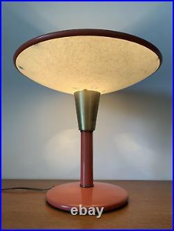 Mid Century Modern Coral Orange Dazor Desk Table Lamp Model 2055 Rare Color
