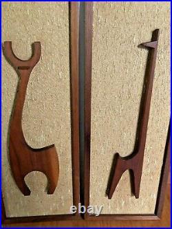 Mid Century Modern DANISH SET of 2 Raised TEAK Wood Wall Art Framed- RARE