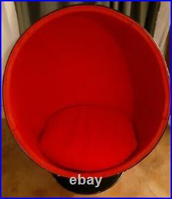 Mid Century Modern Eero Aarnio Ball Chair Authentic 1960s Red Black Sturdy Rare