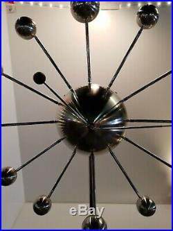 Mid Century Modern Floor Clock MCM Chrome-RARE Sputnik Starburst Orbs