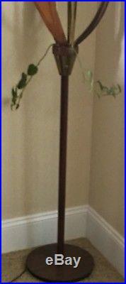 Mid Century Modern Kitsch Danish 3 Glass Globe Tulip And Walnut Floor Lamp Rare