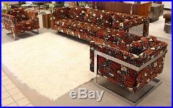 Mid Century Modern Milo Baughman Chrome Sofa 1970s Rare Lenor Larsen Monarch