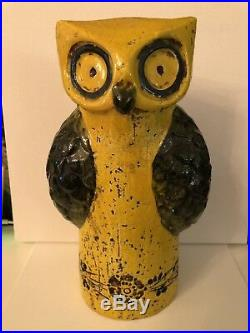 Mid Century Modern RARE Bitossi Aldo Londi Raymor Yellow Owl, Italy, circa 1965