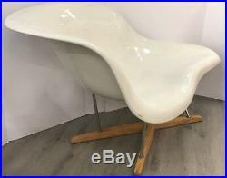 Mid Century Modern Rare Charles Eames La Chaise White Fiberglass Lounge Chair