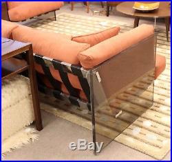 Mid Century Modern Rare Milo Baughman Smoked Lucite & Chrome 3 Seat Sofa 1970s