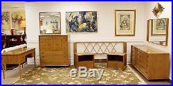 Mid Century Modern Rare Paul Frankl Highboy Dresser & Mirror Satin Birch & Brass