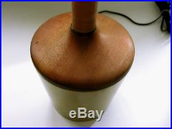 Mid Century Modern Rare Rattan Teak Walnut Brass Lamp VTG Tony Paul