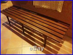 Mid Century Modern Slat Bench CoffeeTable Made in Yugoslavia 5' RARE 6 Legs