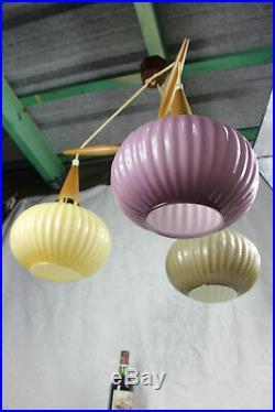 Mid century Rare multi colour Teak wood globes chandelier pendant louis kalff